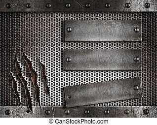 sobre, metal, três, enferrujado, experiência grade, perfurado, pratos, holed, ou
