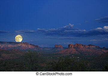 sobre, moonrise, pedras vermelhas