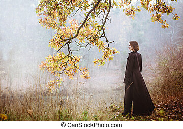 sobre, mulher, rio, raincoat