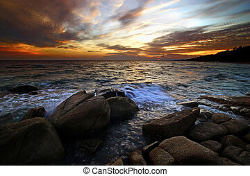 sobre, névoa, pôr do sol, mar, pedras