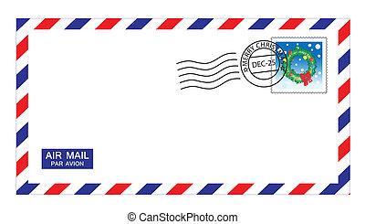 sobre, navidad, correo aéreo