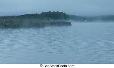 sobre, nevoeiro, rio, alvorada, tempo