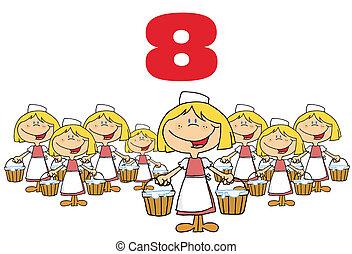 sobre, numere oito, empregadas, vermelho