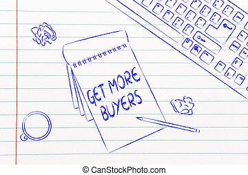 sobre, obteniendo, notas, café, compradores, escritorio,...