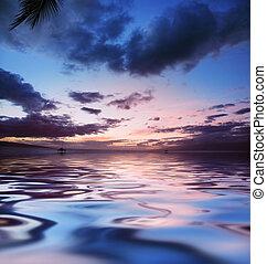sobre, oceano ocaso
