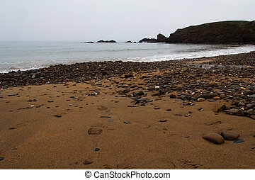 sobre, ondas, pedras praia