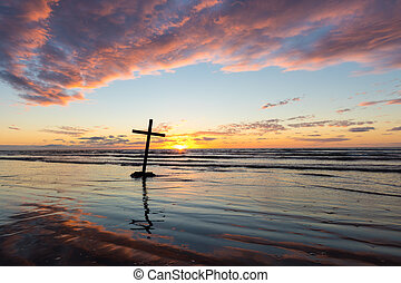 sobre, pôr do sol, crucifixos, inclinar-se