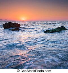 sobre, pôr do sol, mar, coloridos