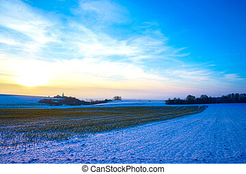 sobre, pôr do sol, winterly, paisagem, vista