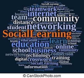 sobre, palabra, learning., nube, social