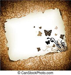 sobre, papel, grunge, borboletas, fundo