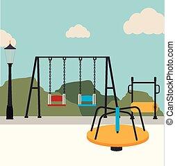 sobre, parque, ilustração, vetorial, desenho, fundo, paisagem