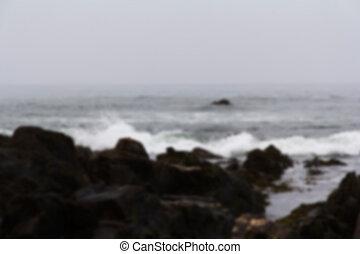 sobre, pedras, foco., ondas, praia, saída