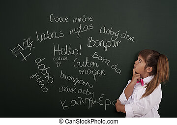sobre, pensamiento, frases, extranjero, pequeño, niña