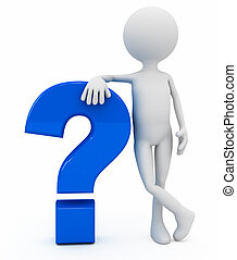 sobre, pergunta, sinal, pessoa, fundo, branca, 3d