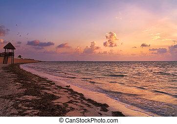 sobre, praia, cancun, amanhecer