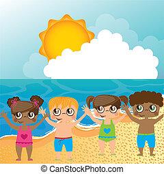 sobre, praia, crianças