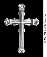 sobre, pretas, prata, crucifixos