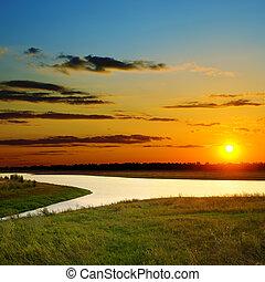 sobre, rio, pôr do sol