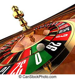 sobre, sólo, ruleta, granangular, casino, primer plano, cero, otoño, listo, si, pelota, fotografiado
