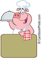 sobre, sinal, cozinheiro, em branco, porca, feliz