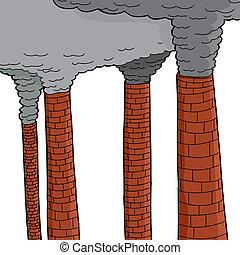 sobre, smokestacks, branca