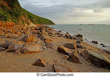 sobre, sol, pedras praia
