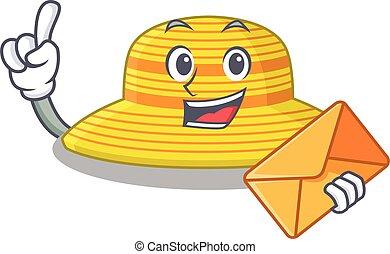 sobre, sombrero, diseño, caricatura, alegre, imagen, marrón, verano