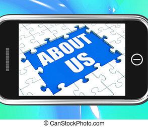 sobre, tableta, compañía, filosofía, nosotros, contacto, sección, exposiciones