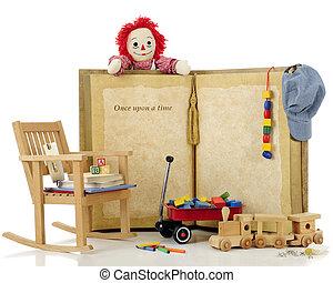 sobre, tempo, uma vez, brinquedos