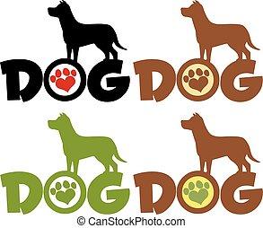 sobre, texto, cão, pata, silueta