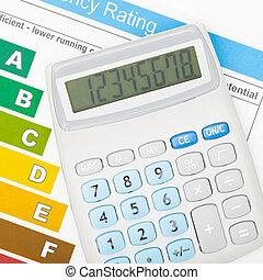 sobre, tiro, energia, -, mapa, eficiência, estúdio, calculadora