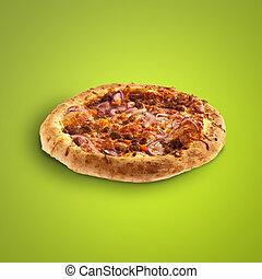 sobre, verde, gostosa, fundo, pizza