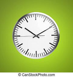 sobre, verde, isolado, fundo, relógio