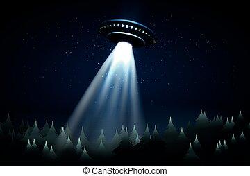 sobre, voando, floresta, ufo, noturna