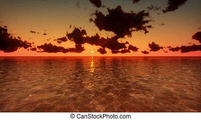 sobre, voando, mar, lapso tempo, amanhecer