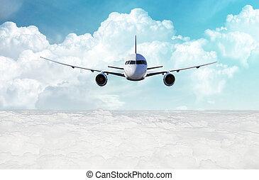 sobre, voando, nuvens, avião