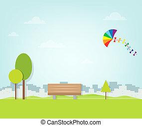 sobre, voando, parque, papagaio