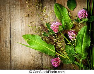 sobre, wood., ervas, fundo, medicine., herbário