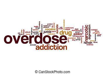 sobredosis, concepto, palabra, nube