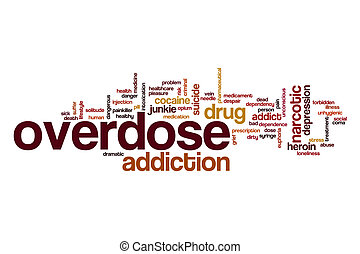 sobredosis, palabra, nube, concepto