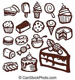 sobremesa, assando, ícones