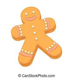 sobremesa, biscoito, vetorial, biscoito, homem bolo gengibre, ícone