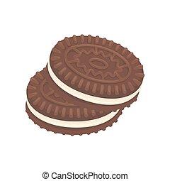 sobremesa, biscoitos, vetorial, chocolate, ícone