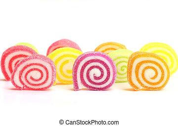 sobremesa, branca, isolado, marshmallow, gelatina