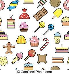 sobremesa, crocante, seamless, gelo, waffle, vector., padrão, creme frio