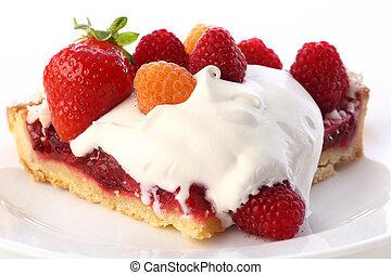 sobremesa, fruitcake, bolo, com, mirtilo