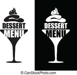 sobremesa, fundo, menu
