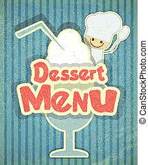 sobremesa, gelo, cozinheiro, desenho, menu, creme