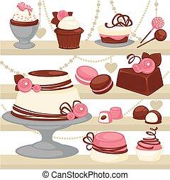 sobremesa, patisserie, doce, vetorial, biscoito, gelo, menu, bolo, desenho, ou, creme